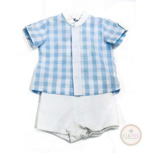 Conjunto camisa cuadros celeste con blanco