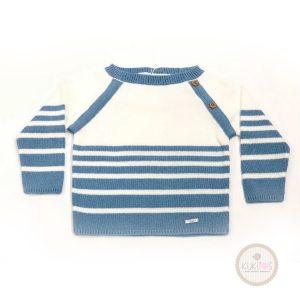 Suéter blanco rayas azul tiza