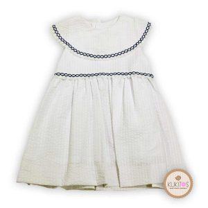 Vestido blanco pique volante bolillo