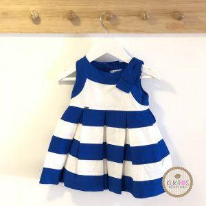 Vestido franjas blanca con azul