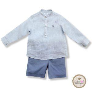 Conjunto camisa celeste bermuda azul tiza