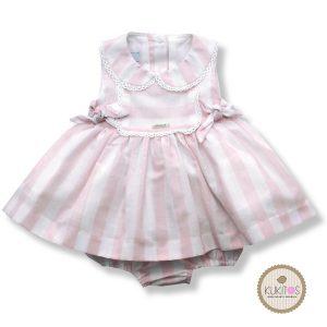 Conjunto niña rayas rosa blanco