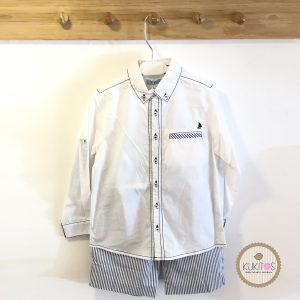 Conjunto camisa blanca short rayas