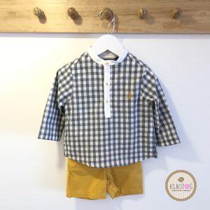 Conjunto camisa cuadros short mostaza