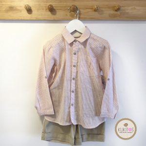 Conjunto niño camisa rayas rosa