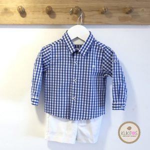 Conjunto camisa cuadros short blanco