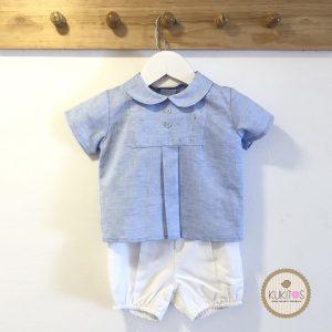 Conjunto blusa celeste short blanco