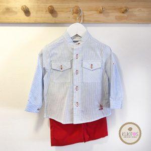 Conjunto camisa cuadros short rojo