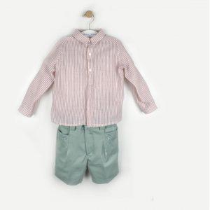 conjunto niño camisa rosa/ bermuda